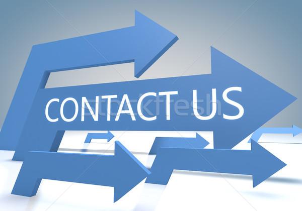 Kapcsolatfelvétel 3d render kék nyilak üzlet internet Stock fotó © Mazirama