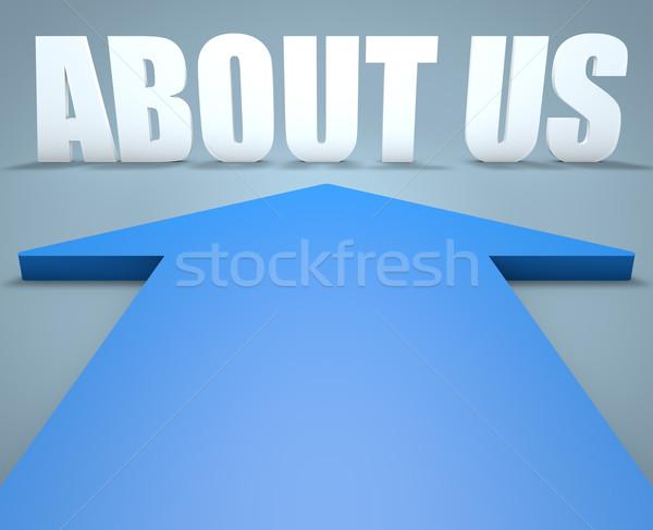 Over ons 3d render Blauw pijl wijzend kantoor Stockfoto © Mazirama