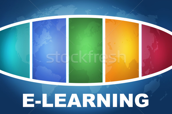 Online oktatás szöveg illusztráció kék színes világtérkép Stock fotó © Mazirama