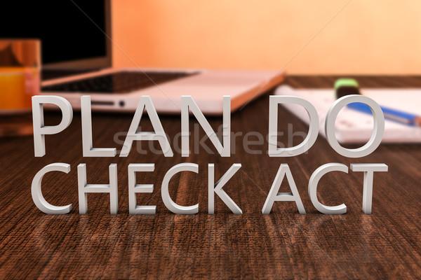 Plan controleren handelen brieven houten bureau Stockfoto © Mazirama
