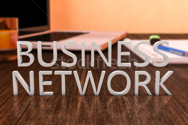 Business network litery biurko laptop notebooka Zdjęcia stock © Mazirama