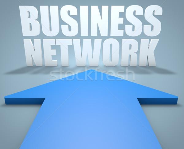 Zdjęcia stock: Business · network · 3d · niebieski · arrow · wskazując · działalności