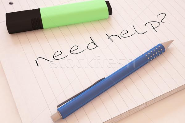 Szükség segítség kézzel írott szöveg notebook asztal Stock fotó © Mazirama