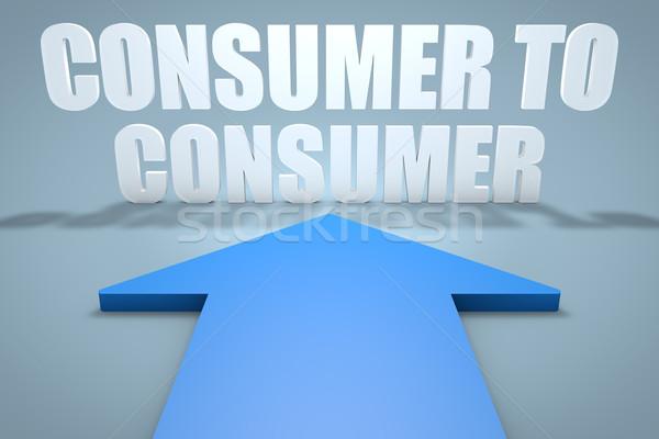 Tüketici 3d render mavi ok işaret Internet Stok fotoğraf © Mazirama