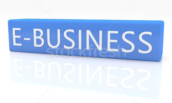 3d render mavi kutu metin beyaz yansıma Stok fotoğraf © Mazirama