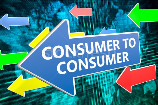 Consumidor texto azul seta voador verde Foto stock © Mazirama