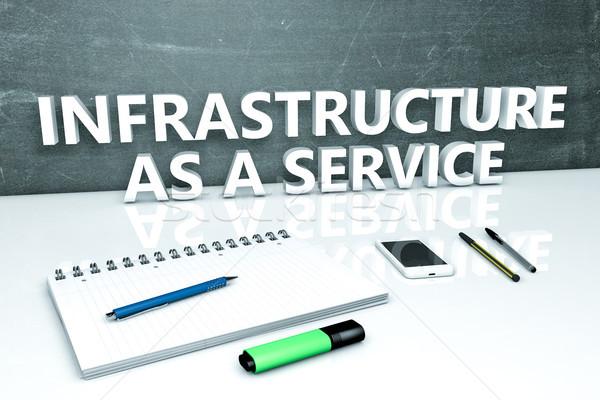 Infrastructuur dienst tekst schoolbord notebook pennen Stockfoto © Mazirama