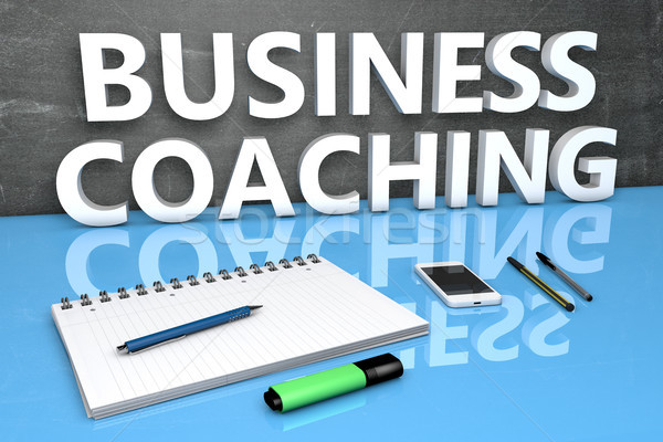 Business Coaching Text Tafel Notebook Stifte Stock foto © Mazirama