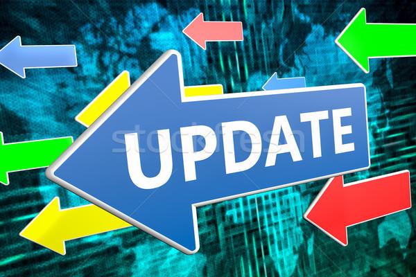Aktualizacja tekst niebieski arrow pływające zielone Zdjęcia stock © Mazirama