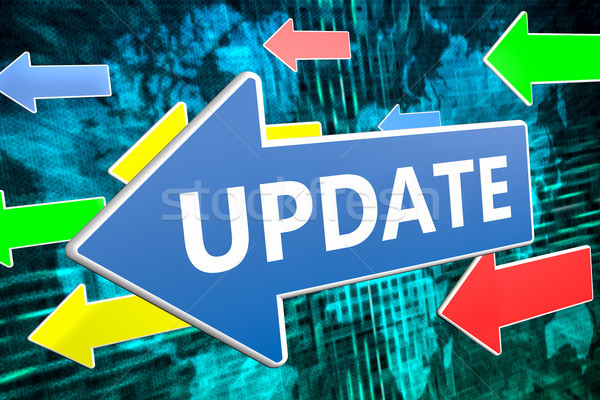 Aktualisieren Text blau arrow unter grünen Stock foto © Mazirama