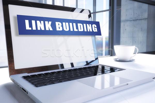 Enlace edificio texto moderna portátil Screen Foto stock © Mazirama