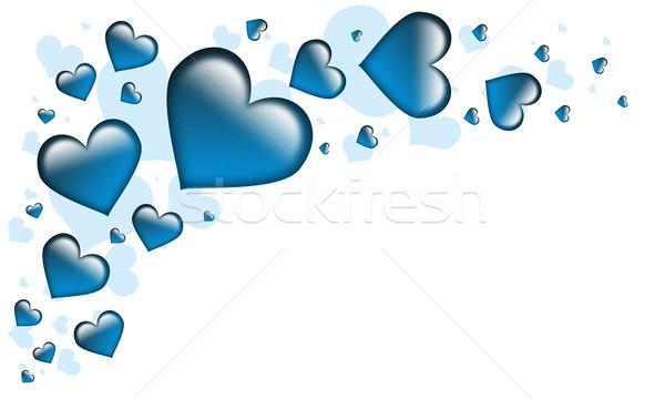 Sevgililer günü kart kalpler tüm mavi doku Stok fotoğraf © Mazirama