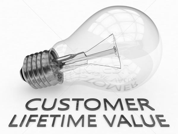 Klienta wartość żarówka biały tekst 3d Zdjęcia stock © Mazirama