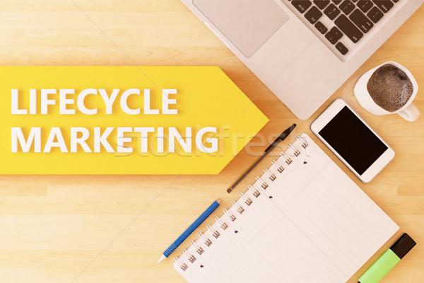 Жизненный цикл маркетинга линейный текста стрелка ноутбук Сток-фото © Mazirama