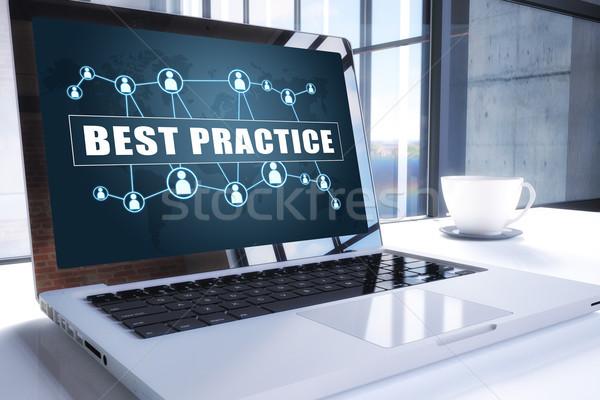 Legjobb gyakorlat szöveg modern laptop képernyő Stock fotó © Mazirama