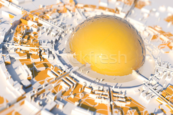 Futuristic city with large orange dome at center Stock photo © Mazirama
