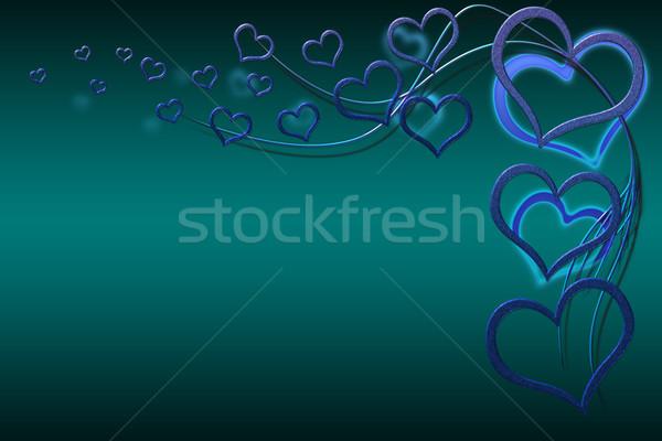 Sevgililer günü kart tasarımlar mavi kalpler Stok fotoğraf © Mazirama