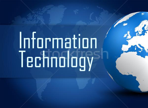 Technologia informacyjna świecie niebieski mapie świata działalności komputera Zdjęcia stock © Mazirama