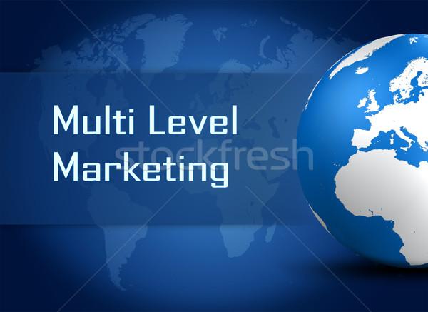 Nivel comercialización mundo azul mapa del mundo negocios Foto stock © Mazirama