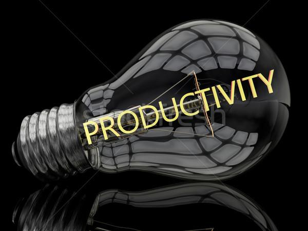 Produktivitás villanykörte fekete szöveg 3d render illusztráció Stock fotó © Mazirama