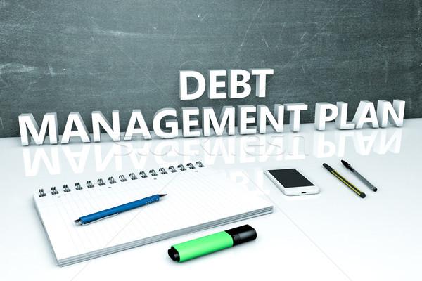Foto stock: Dívida · gestão · plano · texto · quadro-negro · caderno