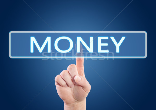 Stock fotó: Pénz · kéz · kisajtolás · gomb · interfész · kék