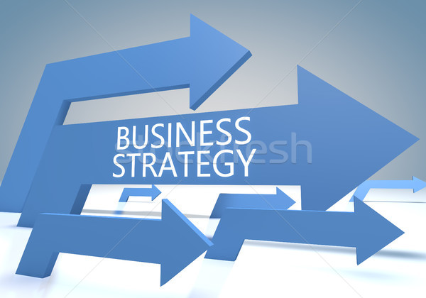 Strategia biznesowa tekst niebieski 3d ilustracja Zdjęcia stock © Mazirama