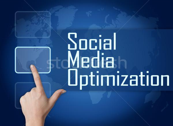 Medios de comunicación social optimización interfaz mapa del mundo azul negocios Foto stock © Mazirama