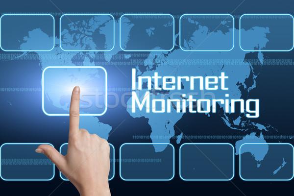 Internet ellenőrzés interfész világtérkép kék biztonság Stock fotó © Mazirama