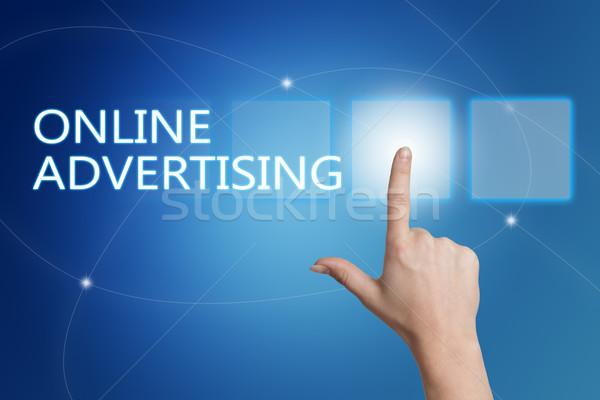 On-line publicidade mão botão interface Foto stock © Mazirama