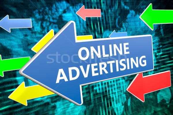 Foto stock: On-line · publicidade · texto · azul · seta · voador