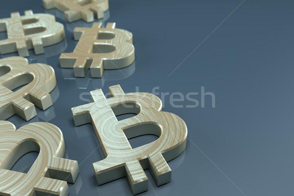 Photo stock: Bitcoin · monnaie · or · signe · bleu · 3D