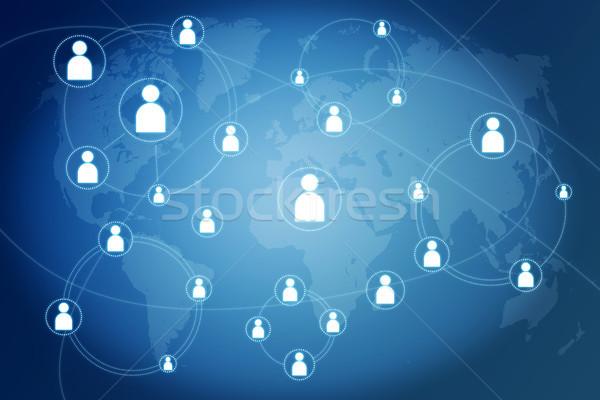 Hálózat kapcsolatok kék világtérkép térkép absztrakt Stock fotó © Mazirama