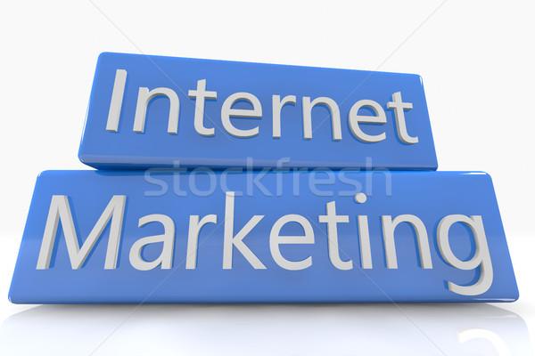 Niebieski polu marketing internetowy biały Internetu Pokaż Zdjęcia stock © Mazirama