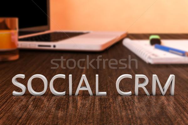 Sociale crm lettere legno desk computer portatile Foto d'archivio © Mazirama