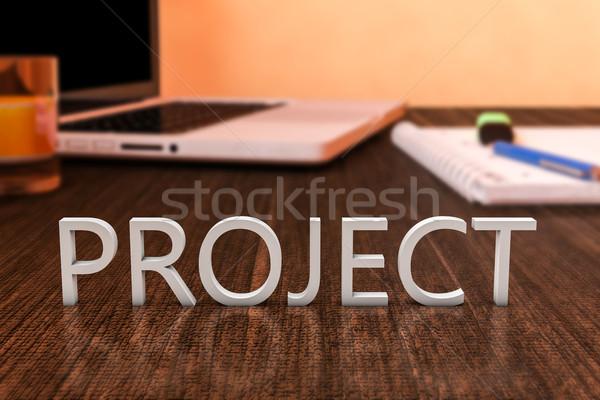 Projet lettres bois bureau ordinateur portable portable Photo stock © Mazirama