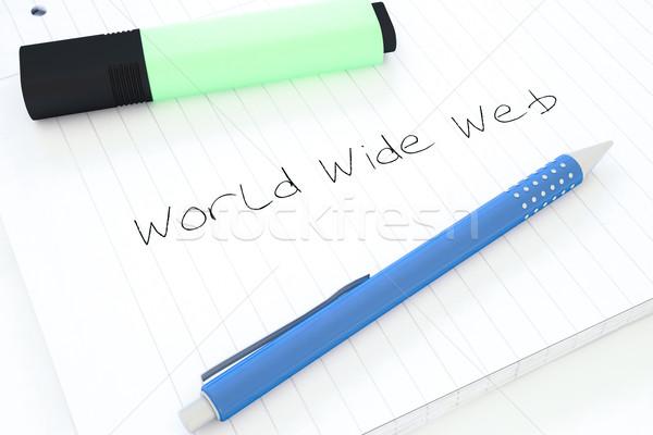 всемирная паутина текста ноутбук столе 3d визуализации Сток-фото © Mazirama
