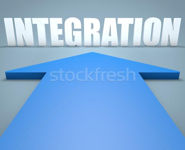 Integração 3d render azul seta indicação computador Foto stock © Mazirama