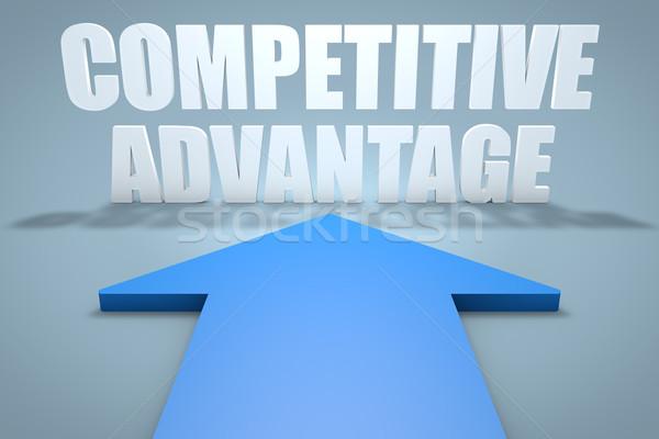 Concurrerend voordeel 3d render Blauw pijl wijzend Stockfoto © Mazirama
