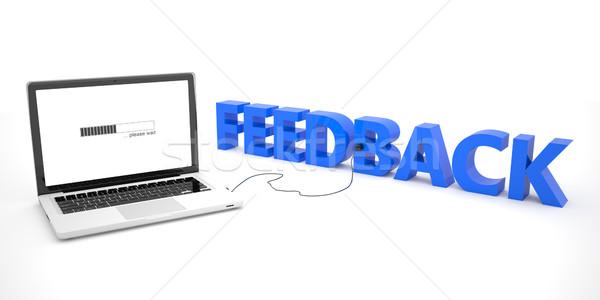 Sprzężenie zwrotne laptop notebooka komputera słowo biały Zdjęcia stock © Mazirama