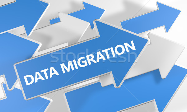 Adat vándorlás szöveg kék fehér nyilak Stock fotó © Mazirama