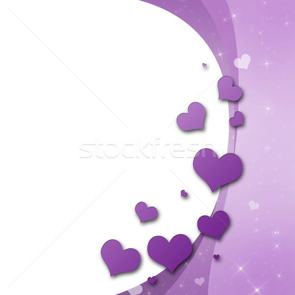 Stok fotoğraf: Sevgililer · günü · kart · kalpler · mor · sevmek · çift
