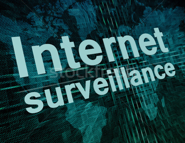 Internet megfigyelés szavak digitális világtérkép biztonság Stock fotó © Mazirama