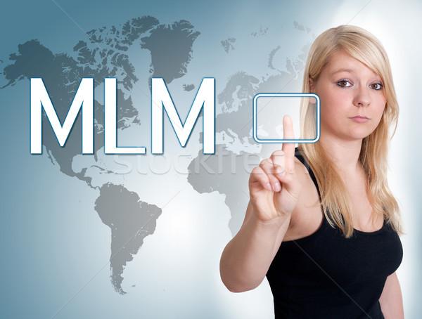 Niveau marketing jeune femme presse numérique bouton Photo stock © Mazirama