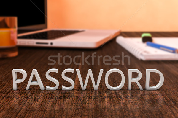 Kennwort Briefe Holz Schreibtisch Laptop-Computer Notebook Stock foto © Mazirama