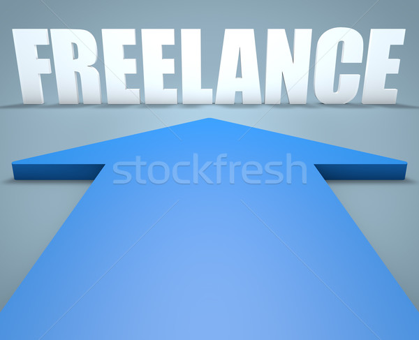 Freelance rendu 3d bleu flèche pointant affaires Photo stock © Mazirama