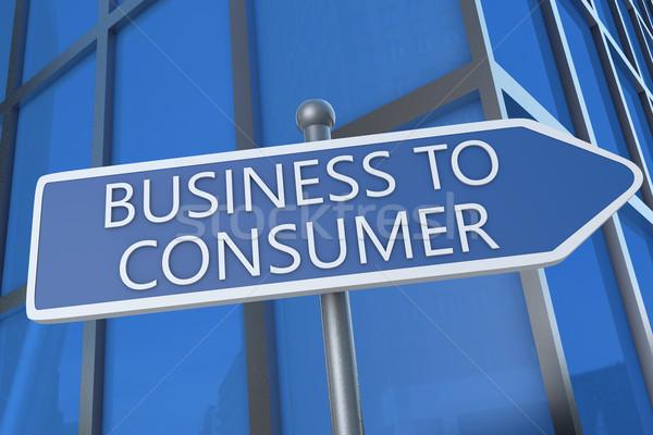 Działalności konsument ilustracja podpisania ulicy biurowiec Internetu Zdjęcia stock © Mazirama