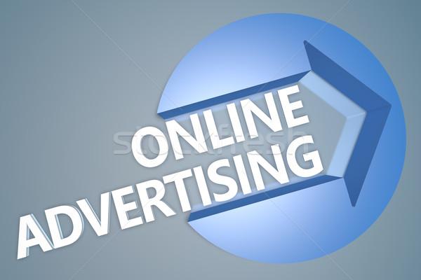 онлайн реклама текста 3d визуализации иллюстрация стрелка Сток-фото © Mazirama
