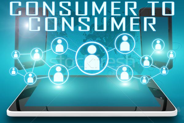 Consument tekst illustratie sociale iconen Stockfoto © Mazirama