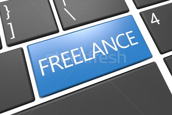 Freelance teclado 3d render ilustração palavra azul Foto stock © Mazirama